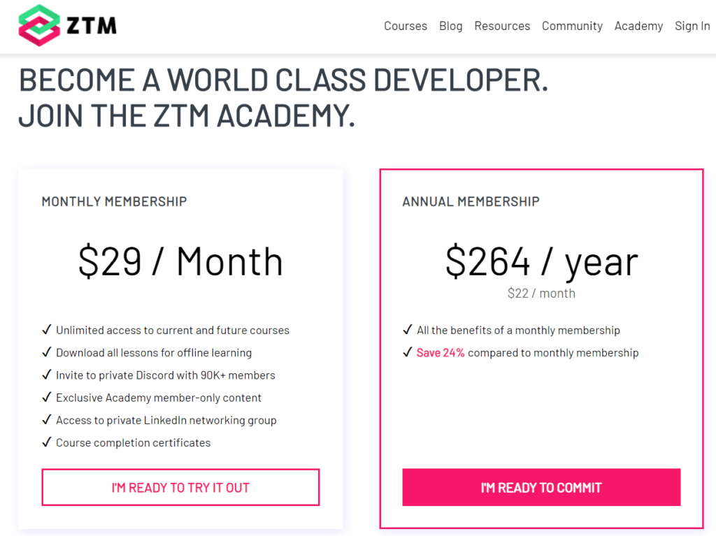 Zero to Mastery Academy Membership Options