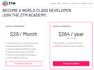 Zero to Mastery Academy Membership Options